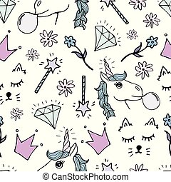 Lovely seamless pattern with hand-drawn unicorns and cute doodles.