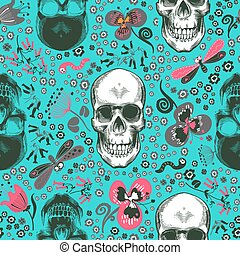 Lovely seamless pattern with human skulls drawn in etching style, pink, gray and black flowers and cartoon insects against blue background. Vector illustration for print, wallpaper, wrapping paper.