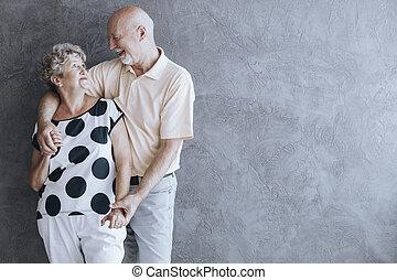 Lovely senior couple hugging