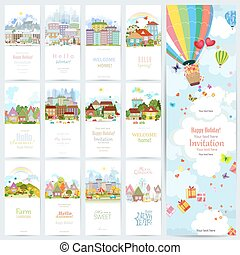 lovely set banners of cute cityscape. Urban landscape of four se