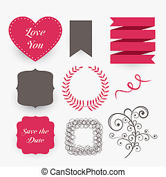 lovely set of wedding design elements