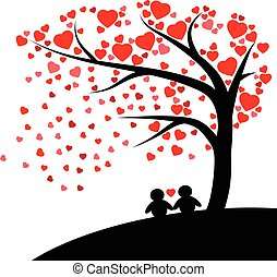 Lovely silhouette couple under the tree with Red hearts fall vector isolated on white background