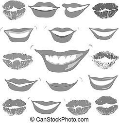 Lovely smiles & collection print of lips set