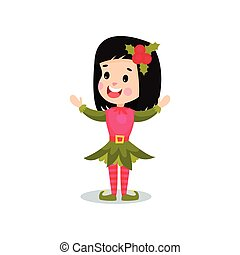 Lovely smiling little girl in the costume of Elf, kid in...
