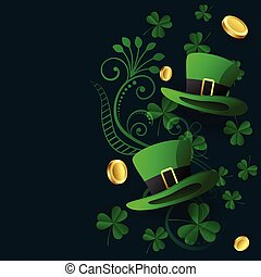 lovely st patricks background with hat coin and leaves