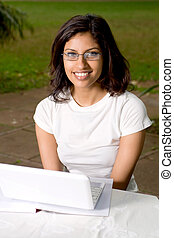 student - lovely student in park with laptop
