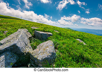 lovely summer landscape. grassy hillside with rocky...