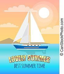 Lovely Summer Poster Depicting Sea with Boat - Lovely summer...