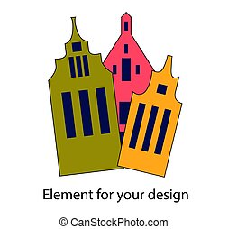 Lovely swedish houses. Norwegian architecture. Vector illustration isolated on a white background..