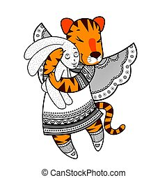 Lovely tiger with wings in beautiful clothes with a plush rabbit in the paws.