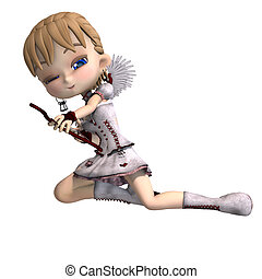 Lovely toon cupid sends you a valentine greeting. 3D rendering with clipping path and shadow over white