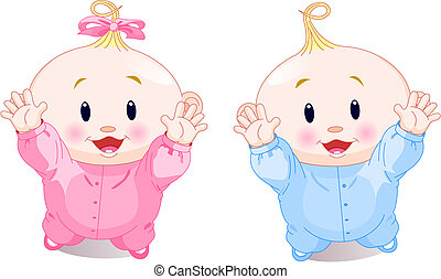Vector illustration of lovely twins with hands up
