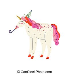 Lovely Unicorn Wearing Party Hat with Whistle Blower, Cute...