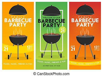 Lovely vector barbecue party invitation design template set. Trendy BBQ cookout poster design