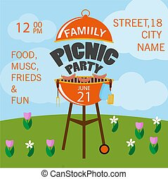 Lovely vector barbecue party invitation design template set.