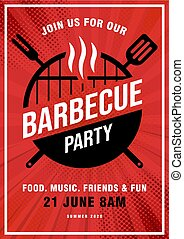 Lovely vector barbecue party invitation design template. Trendy BBQ cookout poster design with classic charcoal grill, fork, cooking paddle and sample text. Pop Art style background. Vector