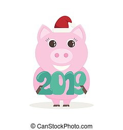 Lovely vector illustration for the New Year 2019 with a pig.