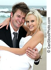 Lovely Wedding Couple at the Sea Side