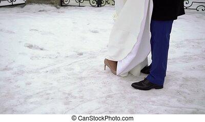 Lovely wedding couple kissing