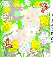Lovely white and yellow tulips blooming with butterflies on abstract background