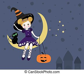 Lovely witch sitting on the moon at night, Halloween card vector.eps