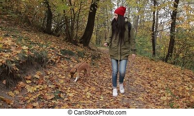 Lovely woman enjoying walk with her dop in forest