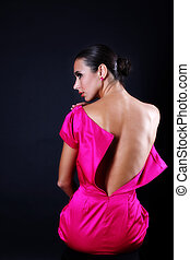 lovely woman in pink dress