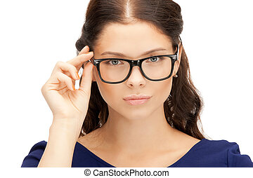 lovely woman in spectacles - closeup picture of lovely woman...