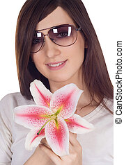 Lovely woman in sunglasses with lili