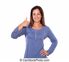 Lovely woman showing ok sign with thumb up