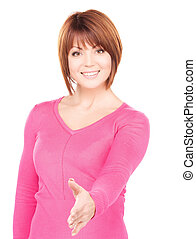 handshake - lovely woman with an open hand ready for...