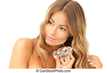 lovely woman with big diamond - portrait of lovely woman...