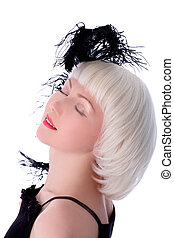 lovely woman with black feather isolated on white
