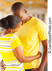 young african couple kissing