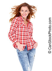 Lovely young woman in casual clothing, white background