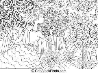 lovely young woman in fantasy forest for coloring book