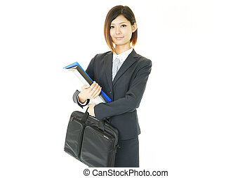 Lovely young woman with bag