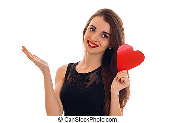 lovely young woman with red lips celebrating valentines day with hearts isolated on white background