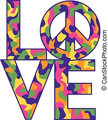 love=peace, colori, camo, retro