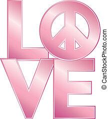 love=peace, rózsaszínű