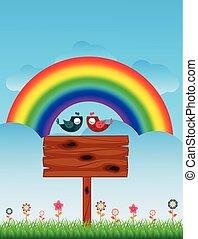 Lover Birds and Rainbow