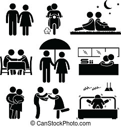 A set of pictogram representing lover couple activity.