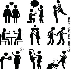 Lover Couple Love Proposal Hug - A set of pictogram showing ...