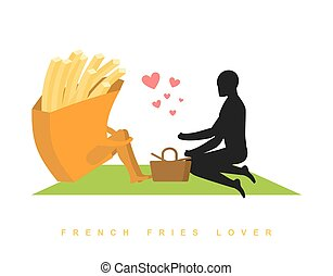 lover french fries. Fast food at picnic. Rendezvous in Park. Fastfood and people. Rural jaunt in love with  eating. Meal in nature. Plaid and basket for feed on lawn. Romantic meal illustration