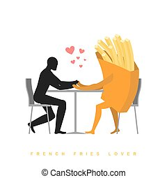 Lover french fries in cafe. Man and fast food sitting at table. food in restaurant. Romantic date in public place. Romantic illustration meat