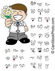 lover kid doctor cartoon expresion