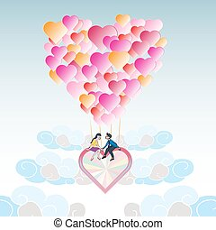 Lover on heart balloon flying among the cloud with blue sky