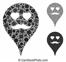 Lover smiley map marker Mosaic Icon of Irregular Items