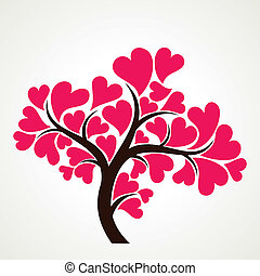 lover tree with pink heart shape leaf stock vector