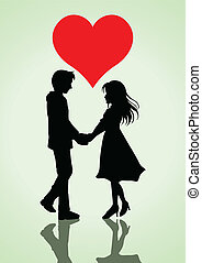 Vector illustration of a couple holding hands with heart symbol on top